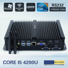 HYSTOU Mini Computer Fanless Mini PC Windows 7 Core i5 4200U i7 5550U 2*RS232 industrial PC Rugged PC Mini Server mini ordenador