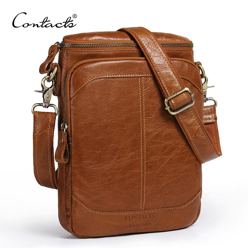 CONTACTS Genuine Leather Men Bags Business Male Messenger Bag Designer Handbags High Quality Brand Crossbody Shoulder Bag<br>