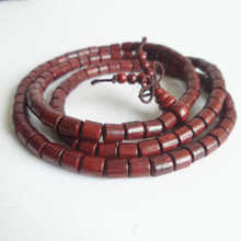 BRO788 Natural Red Sandalwood Prayer Beads Mala 6mm Buddhist 108 Barrel Wooden Bracelets