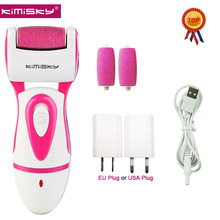 KIMISKY RED RECHARGEABLE Top Strong Electric Pedicure Tools Foot File Electric PK Scholls file Foot Care Tool +2Pcs Roller Heads(China)