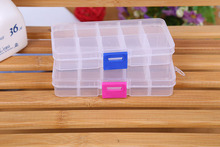 1pcs 13*6.5*2cmPlastic 10 Slots Compartment Adjustable Jewelry Necklace Clear Storage Box Case Holder Craft Organizer Hot