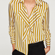 Free Lemons Golden White Stripes Women Shirts Silk texture Long Sleeve Women Clothes 2017 Perfect Quality Shirt Top V5308(China)