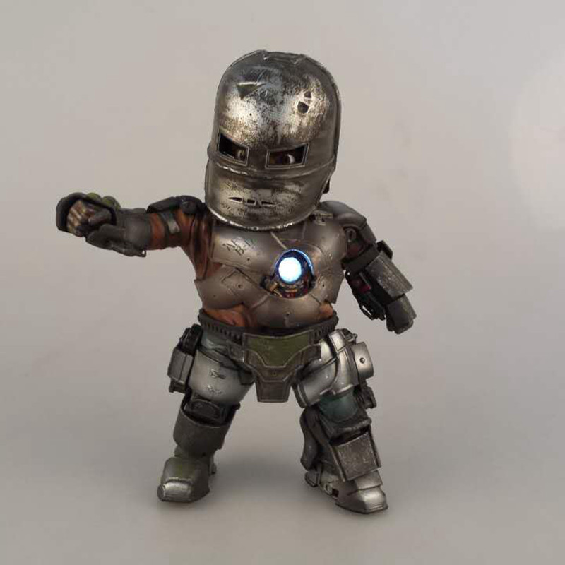 Wholesale 16pcs Q version Eggattack Avengers Iron Man on light pvc figure toy tall 20cm in box via EMS.<br>