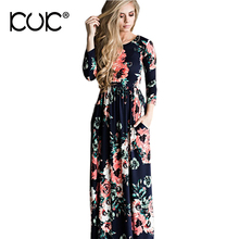 Kuk 5 Color Long Dress Floral Summer Maxi Dress 3XL Plus Size Vestido Longo Boho Bohemian Women Dress Chic Beach Tunic A251(China)