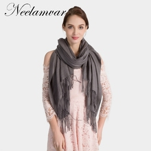 Neelamvar brand New Luxury Solid scarf women Fashion Cashmere shawls Tassel thick warm pashmina Elegant Neckerchief wraps Winter(China)