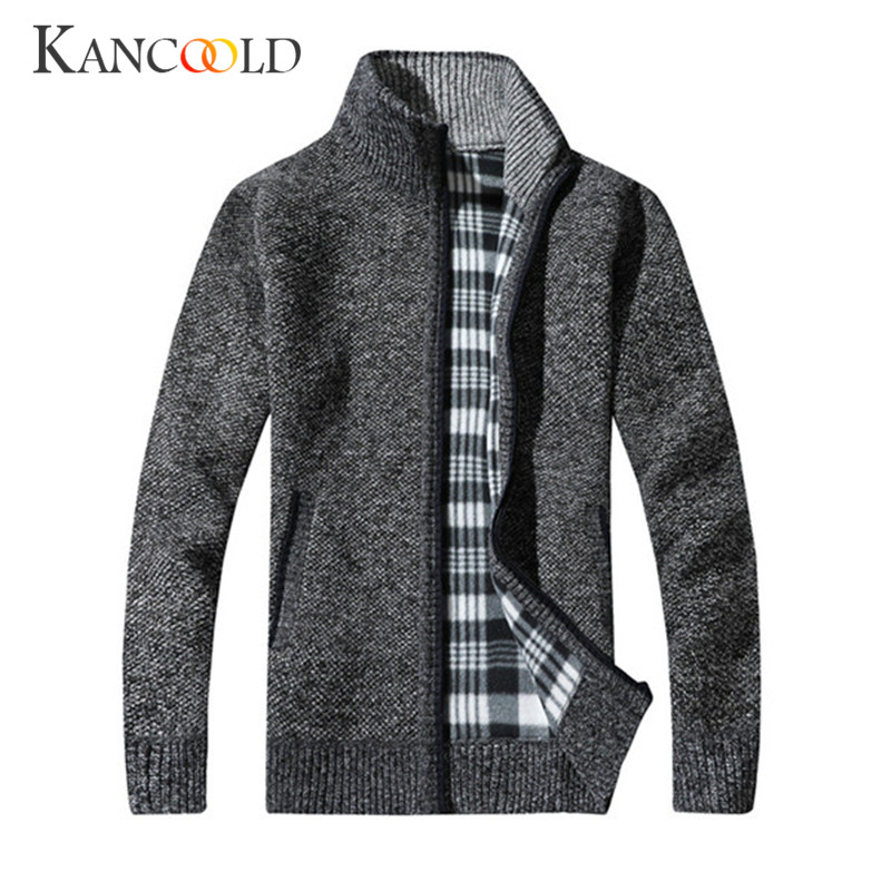 2017 winter Men Slim Trench Coat Long Jacket Overcoat Jackets Knitting Cotton Stand Neck for male Zipper Thick Overcoat OC10A