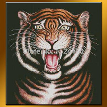 2015 Newest Design Decorative Animal Painted Canvas Hand Made Power Tiger Oil Painting Canvas Home Decorative Art Picture 50x50