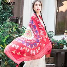 KYQIAO Ethnic designer head scarf for women autumn winter Mexico style vintage hippie original long black red printed scarf cape