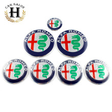 7pcs new 7.4cm 74mm ALFA ROMEO full set Car Badge sticker Front Hood Rear Emblem 50mm Wheel stickers 40mm steering wheel sticker