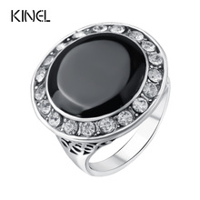 Luxury Black Enamel Wedding Rings For Women White Austria Crystal Color Silver Retro Jewellery Wholesale Mix Lots