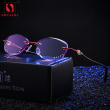Women Rimless Purple Lens Reading Glasses Female Presbyopic Glasses for Reader Anti-fatigue +1 +1.5 +2 +2.5 +3 +3.5 +4(China)