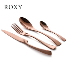 Wholesale 24Pcs/set Stainless Steel Rose Gold Cutlery Set Dinnerware Tableware Silverware Sets Dinner Knife and Fork Set(China)