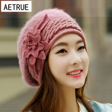Beanies Women's Winter Hats For Women Knitted Girls Bonnet Caps Winter Lady Hats Brand Wool Fur Beanie Flower Skullies Hat 2017(China)