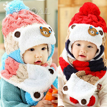 Baby Winter Hats Cartoon Baby Boy/Girl Striped Woolen Hats Newborn Bear Baby Beanies+Scarf Twinset(China)