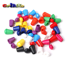 25pcs Colorful Cord Ends Bell Stopper With Lid Lock Plastic Toggle Clip For Paracord Clothes Bag Sports Wear Shoe #FLS047(Mix)
