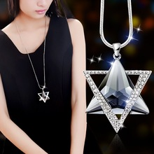 BYSPT Double Triangle Gray Blue Crystal Pendant Necklace Women Office Lady Sweater Chain Jewelry Bijoux Gifts(China)