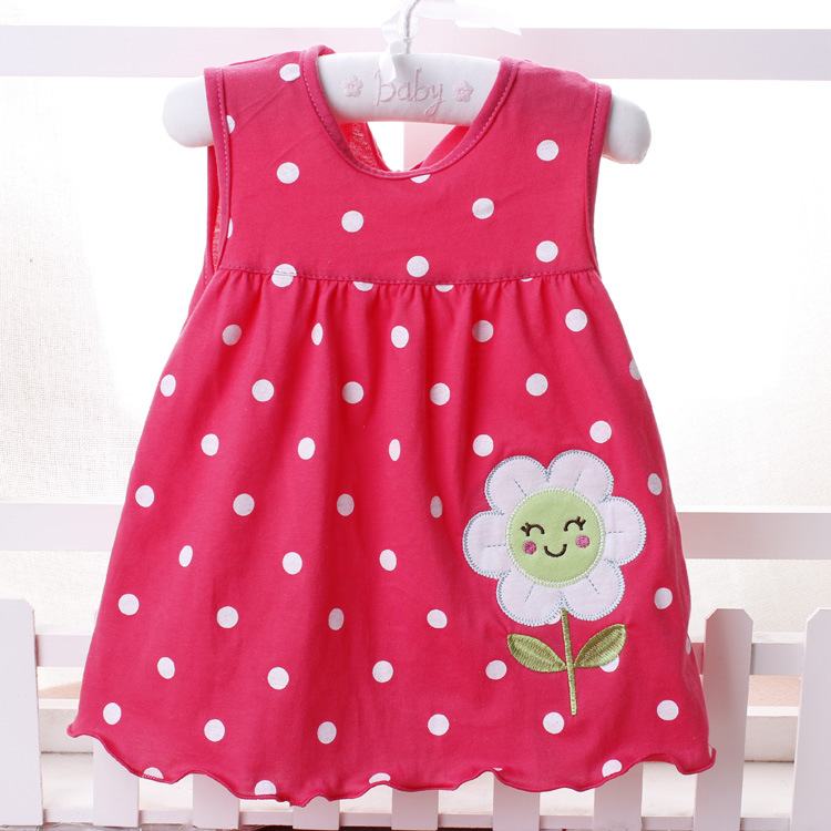 2016 New Summer Cute Baby Girl 100% Cotton Newborn Infant Baby Princess Casual Dress 0-18 Months Baby Clothes Lovely Cartoon(China (Mainland))