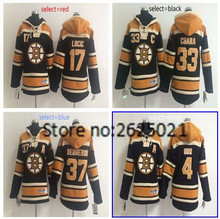 New men's 33 Zdeno Chara 37 Patrice Bergeron 17 Milan Lucic 4 Bobby Orr high quality embroidery Hoodie Jersey Quick delivery(China)