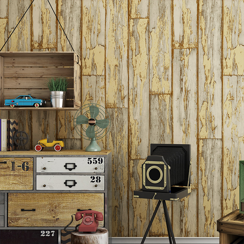 Beibehang Vintage Chinese imitation wood striped wallpaper study bar antique antique nostalgia clothing store 3d wallpaper roll<br>