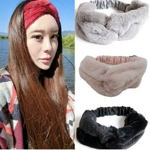 Elastic Wide Thick Fabric Winter Models the artificial rabbit fur Head Wrap Tie Hairband Headwear for Women Stretch Headbands(China)
