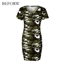 BEFORW Summer Fashion Slim Women Dress V-collar Sexy Pencil Dresses Camouflage Printing Beach Casual Dress Charming Green Gray(China)
