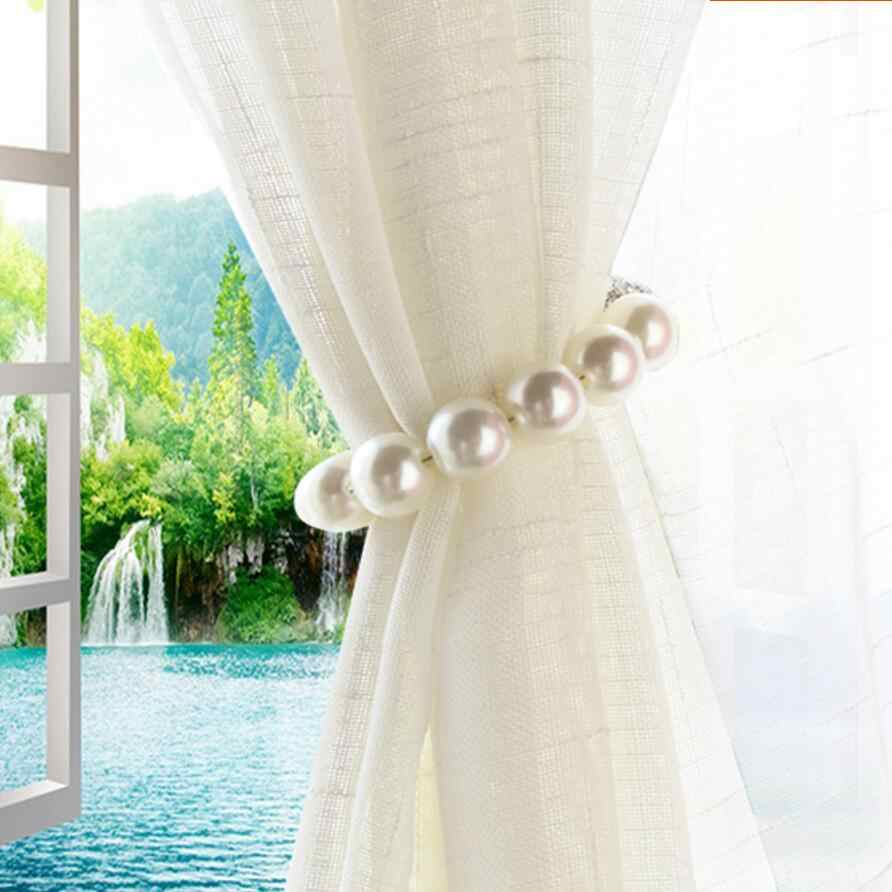 1PC ABS Artificial Pearl Curtain Tieback Magnet Tie Curtain Holder Luxury Curtains Holderback Accessories Home Decor QT004-30