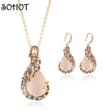 SOHOT Women Fashion Jewellery & Jewerly Peacock Gold Color Opal Stone Crystal Pendant Necklaces Wedding Jewelry Sets Accessories