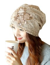 Womens Lace Flower Beanie Hat mesh slouchy baggy cap