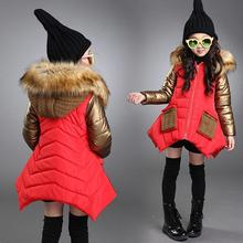 New Children Outerwear Cotton Winter Hooded Coats 2018 Jacket Kids Coat Black Red and Gold Girls Clothing Thick Down & Parkas(China)
