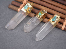 5pcs Gold color Aura Quartz Crystal Point Pendant Bead, with Little Natural stone Druzy Quartz Point Jewelry Pendants