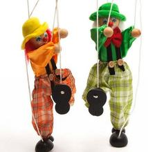 Clown Marionette String Puppet Wooden Shadow Play Toy Joint Activity Doll
