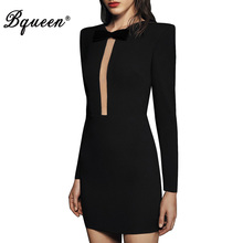 Buy Bqueen Elegant Bow Black Autumn Women Bandage Dress Sexy Mini O Neck Full Sleeve Solid Lady Dress Vestidos 2017 New Arrival for $29.40 in AliExpress store