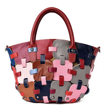 High Quality Fashion Brand 2017 Genuine Leather Women Handbag Colorful Weave Female Bag In Leather Cow Large Shop Online Handbag