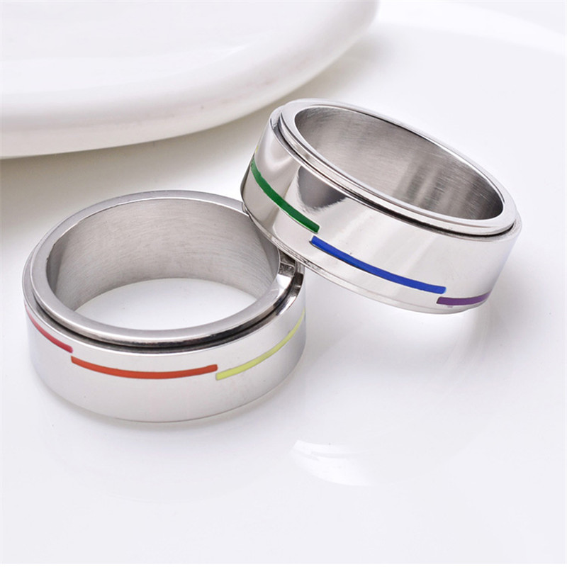 Stainless Steel Rotating Rainbow Ring