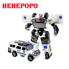 2017 Cool Deformation Toy Police Car Robot With Unique Soft Bullet Gun Shoot Weapon Fire Alloy Model Kid Children Boy Gift