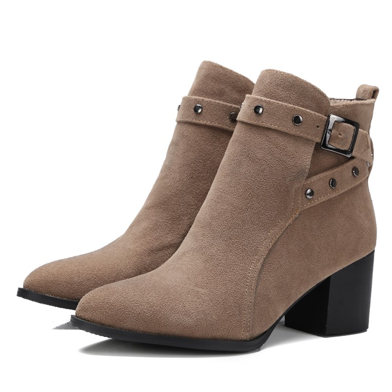 Autumn and winter short cylinder boots with high heels boots shoes Martin boots women ankle boots with thick scrub<br><br>Aliexpress
