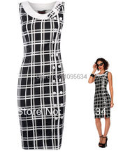 free shipping  new black white Chiffon tartan pencil wiggle dress vintage 50 60 rockabilly party pin up
