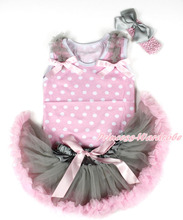 Light White Dot Baby Pettitop & Grey Ruffles & Light Pink Bow, Grey Pink Newborn Pettiskirt, Pink Headband Grey SilkBow MANP042