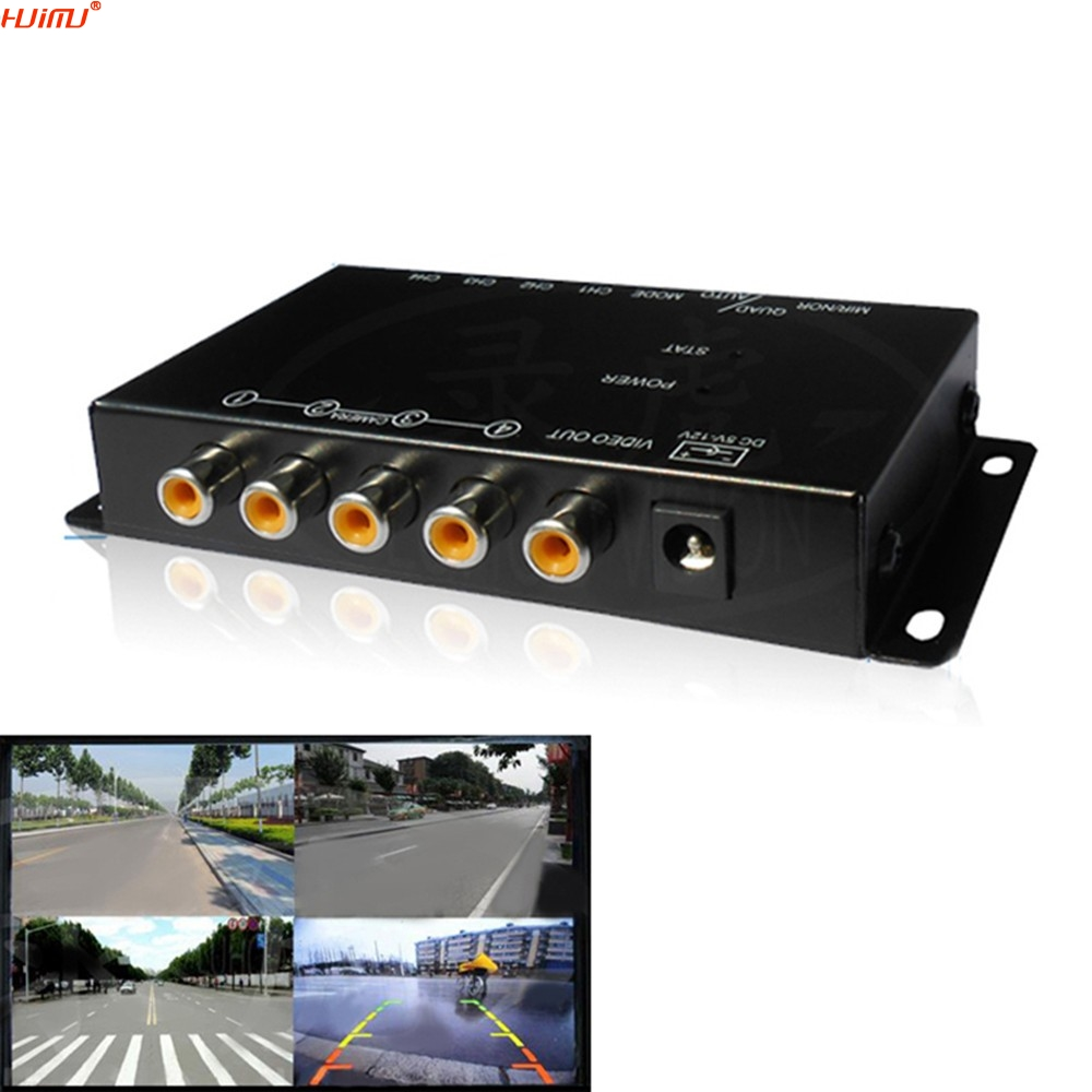 car 4-Way Composite RCA Video Splitter Distribution support car rear front side view cameras four cameras control box switch<br>