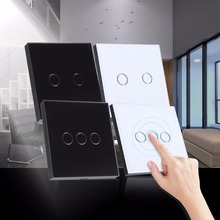 Wall Light Touch Screen Switch 1 Way 2/3 Gang 110~240V Tempered Glass Panel Touch Wall Light Switch Black/White Crystal Glass