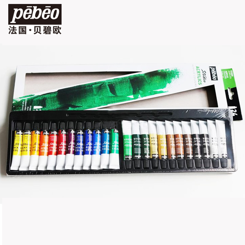 Free shipping French Pebeo 24 color 12 ml profession acrylic painting pigments set<br>