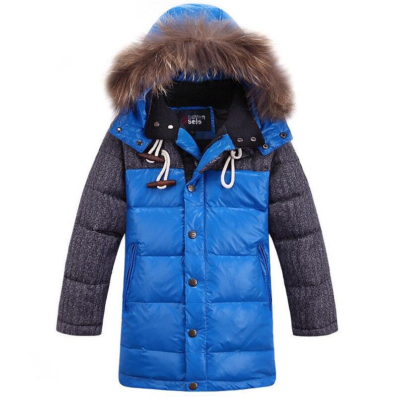 2017 winter new boy down coat fur collar hooded childrens winter jackets patchwork winter jacket boys long thicken kid outwearÎäåæäà è àêñåññóàðû<br><br>