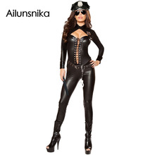 Ailunsnika 2017 Halloween Costumes for Women Sexy Adult New Year Cosplay 6pcs Frisky Officer Costume DL89036