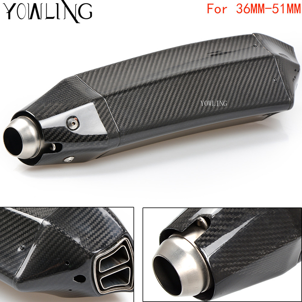 YOWLING Universal Motorcycle Exhaust Muffler Escape Exhaust Mufflers Real Carbon Fiber Exhaust Pipe 36MM-51MM