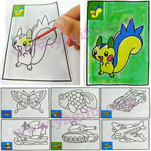 400PCS/LOT.Magic water art,Coloring art paper,Color painting,Touch water to draw,Kids toys,Mixed design.12x17.5cm,Bulk wholesale(China)