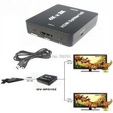 Mini  HDMI Splitter 1x2 1.4V HDMI audio splitter 1 in 2 out  HDMI switch switcher Full HD 1080P Support 3D 4K*2K