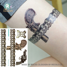LC-406/2016 Latest  Fashional Women's Temporary Body Tattoo Stickers Big Fake Gun With Lace Temporary Tattoo Brown