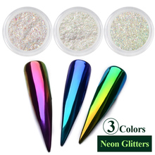 0.2g/box Neon Unicorn Mirror Powder Ultra-thin Holo Nail Glitters Aurora Mermaid Dust Pigment Manicure DIY Nail Art Decorations(China)