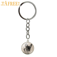 TAFREE Colorful Dog Key Chain Animal French Bulldog Keychain fashion men women Stock Vector round glass novelty jewelry A113
