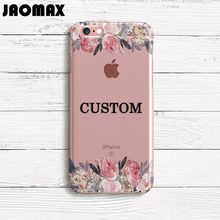 Jaomax DIY Custom Name Flower Cover Case For iPhone 8 6 6S 6 Plus 5 5S SE 7 7Plus X Transparent Silicone Soft Design Phone Cases(China)